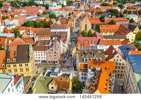 Augsburg, Germany rooftop town view.