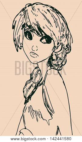 isolated girl sketch Anime manga cartoon on a light background