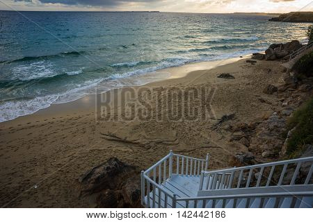 Picturesque Beach Makris Yalos On The Island Of Kefalonia,  Greece