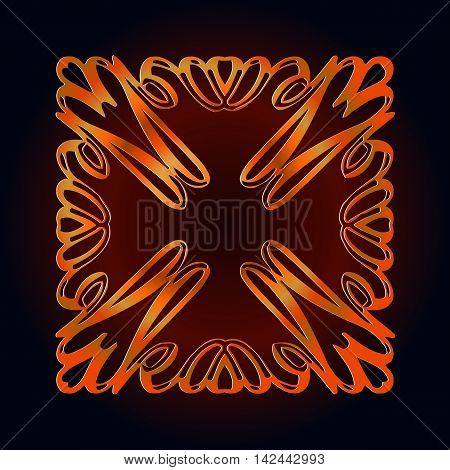 element color embossed brown decor in the form of a continuous of wavy lines on a dark background in the form of a monogram