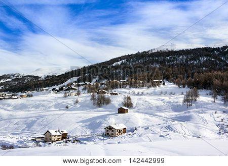 Winter landscape of Livigno village, Lombardi, Italy