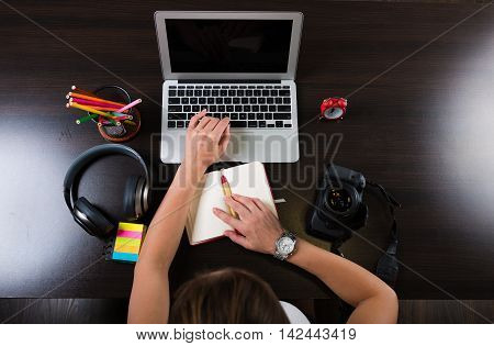 Woman Working At Creative Workplace