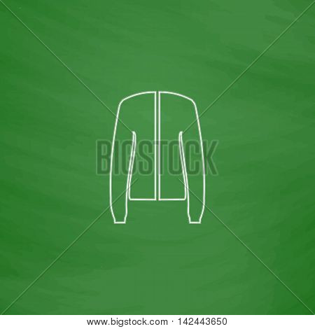 jacket Outline vector icon. Imitation draw with white chalk on green chalkboard. Flat Pictogram and School board background. Illustration symbol