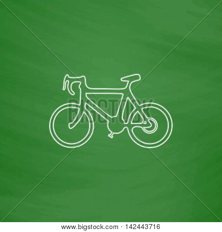 Bicycle icon Outline vector icon. Imitation draw with white chalk on green chalkboard. Flat Pictogram and School board background. Illustration symbol