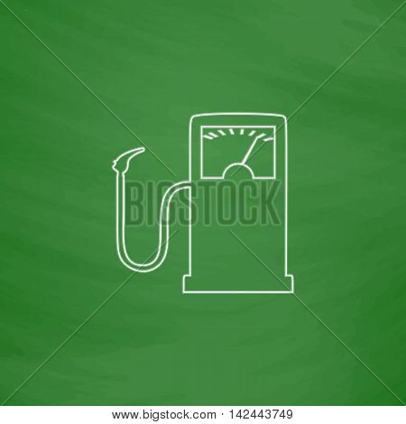 Gas station Outline vector icon. Imitation draw with white chalk on green chalkboard. Flat Pictogram and School board background. Illustration symbol