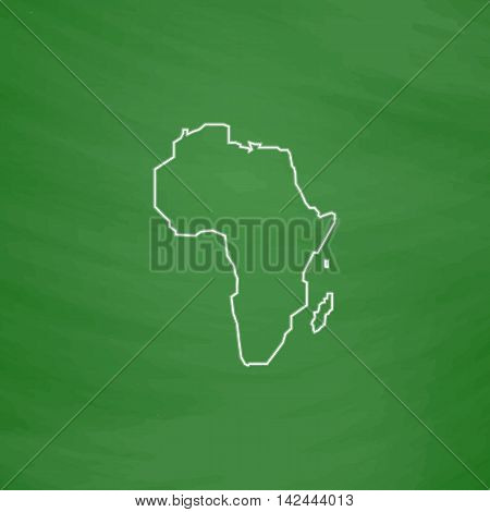 Africa Outline vector icon. Imitation draw with white chalk on green chalkboard. Flat Pictogram and School board background. Illustration symbol