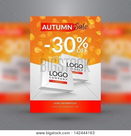 Autumn sale flyer template. Vector illustration with paper bag and yellow alder and chestnut leaves.