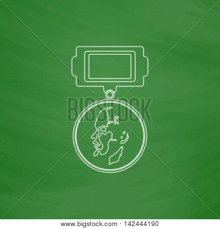 USSR Order Outline vector icon. Imitation draw with white chalk on green chalkboard. Flat Pictogram and School board background. Illustration symbol