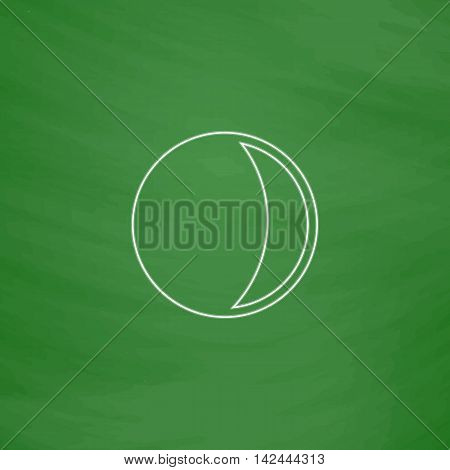 lunation Outline vector icon. Imitation draw with white chalk on green chalkboard. Flat Pictogram and School board background. Illustration symbol