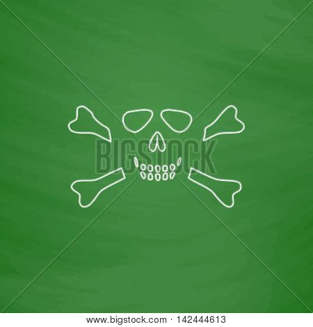 Skull crossbones Outline vector icon. Imitation draw with white chalk on green chalkboard. Flat Pictogram and School board background. Illustration symbol