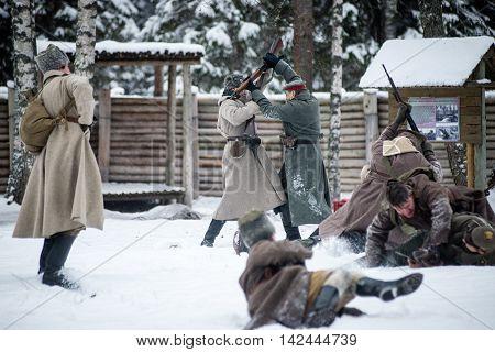 Mangali, Latvia, Museum Of Lozmetejkalns, January 9, 2016 - Reenactment Of World War Two Battle In L