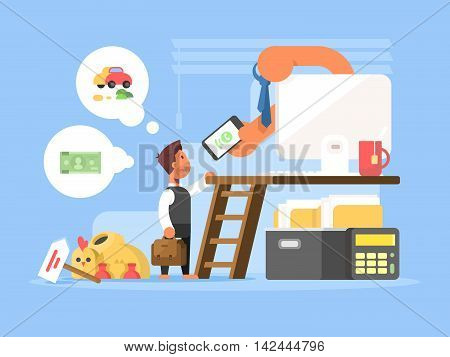 Career flat concept. Business person at beginning of ladder to success. Vector illustration