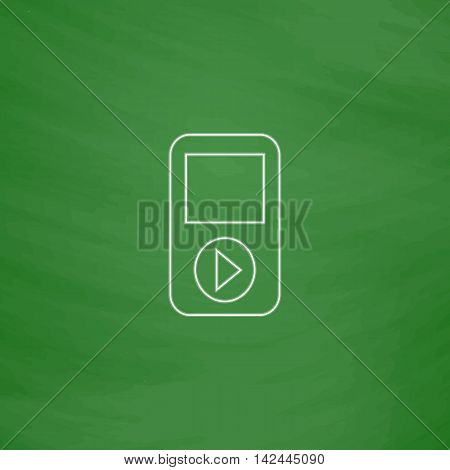 Media player Outline vector icon. Imitation draw with white chalk on green chalkboard. Flat Pictogram and School board background. Illustration symbol
