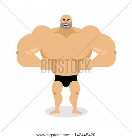 Angry Muscled. Aggressive Bodybuilder On White Background. Grumpy Strong Athlete. Big Ferocious Man.