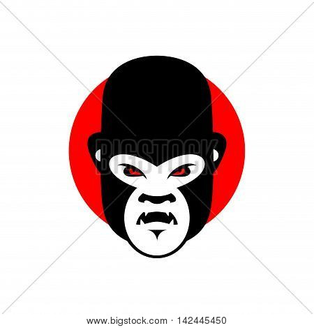 Gorilla Mascot. Head Of Wild Animal. Aggressive Monkey. Logo For Sports Team. Angry Beast