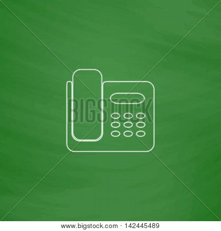 Office Phone Outline vector icon. Imitation draw with white chalk on green chalkboard. Flat Pictogram and School board background. Illustration symbol