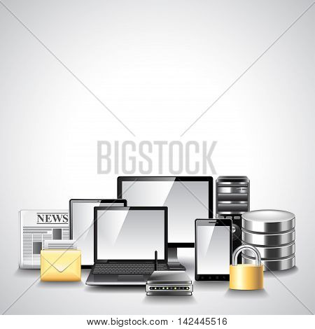 Computer network composition from different devices vector background