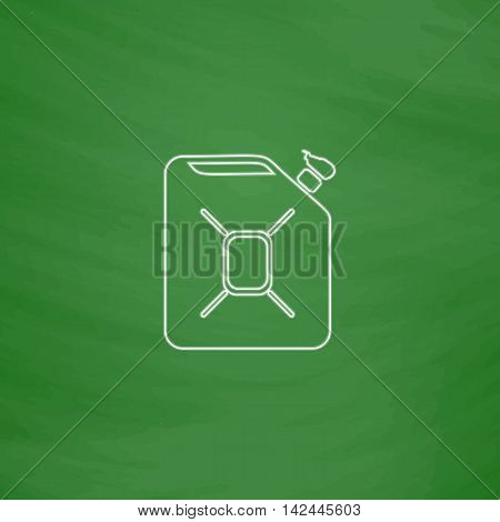 Jerrycan oil Outline vector icon. Imitation draw with white chalk on green chalkboard. Flat Pictogram and School board background. Illustration symbol