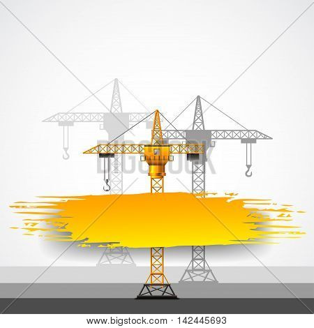 Construction cranes and grunge place for text vector background