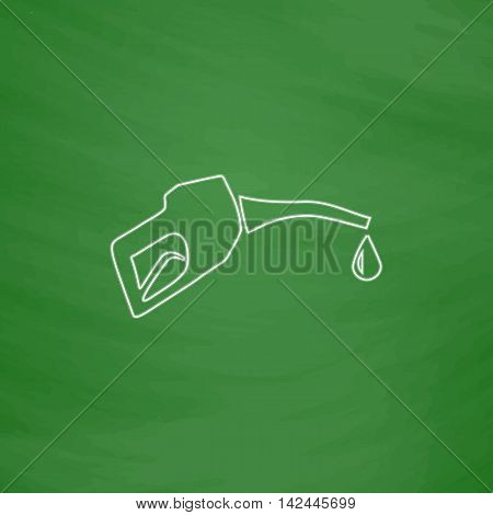 Gasoline pump nozzle Outline vector icon. Imitation draw with white chalk on green chalkboard. Flat Pictogram and School board background. Illustration symbol