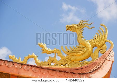 Typical Chinese temple roof architecture; Dalad Vietnam