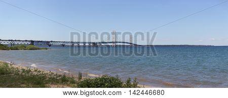 The Mackinac Bridge a suspension bridge in Michigan