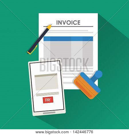 smartphone document payment financial item icon. Invoice design, vector illustration