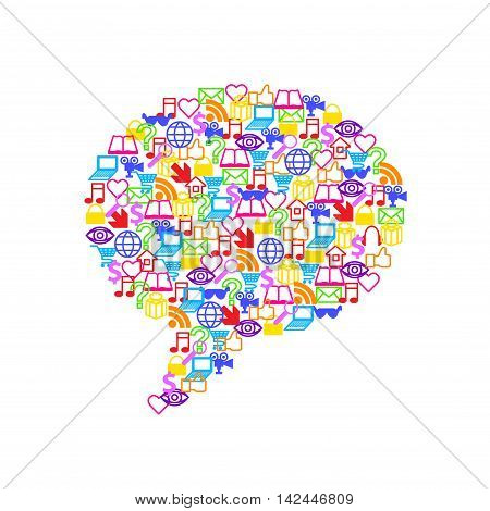 Flat social media icons in big speech bubble form vector background