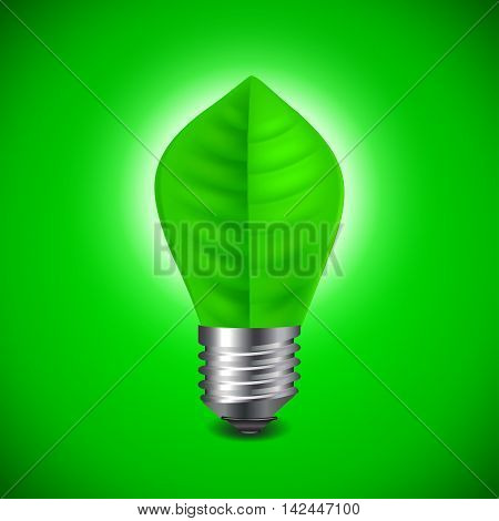 Light bulb from green leave environment concept vector background