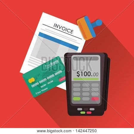 dataphone credit card document payment financial item icon. Invoice design, vector illustration