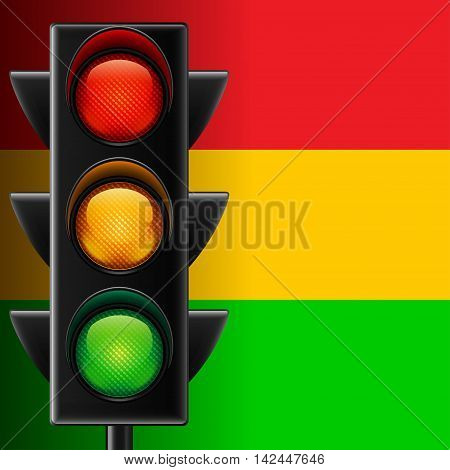 Traffic light on red yellow and green striped vector background