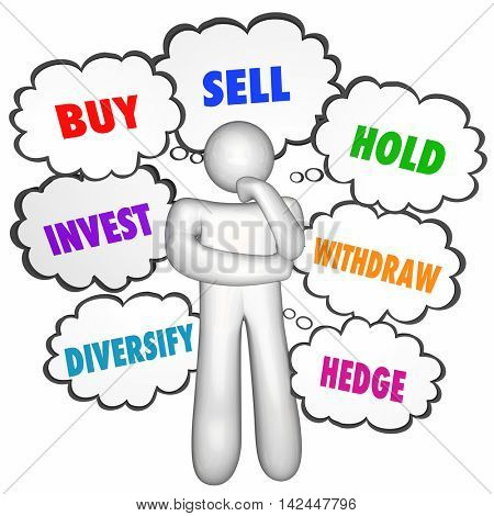 Buy Sell Hold Investments Thinker Thought Clouds 3d Illustration
