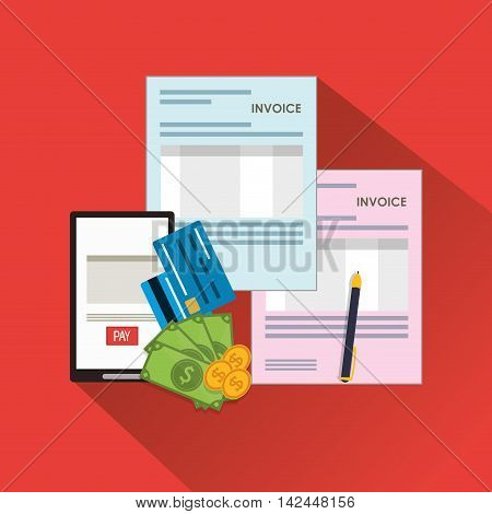 smartphone document bills coins payment financial item icon. Invoice design, vector illustration