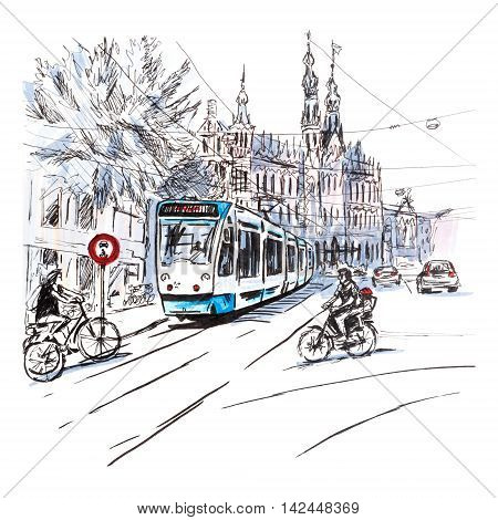 City view of typical Amsterdam street with cyclists and tram, Holland, Netherlands.