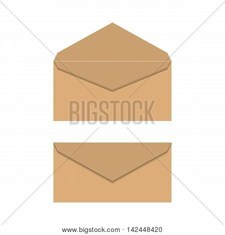 A set of postal envelopes of yellow paper isolated on white background open and closed vector illustration.