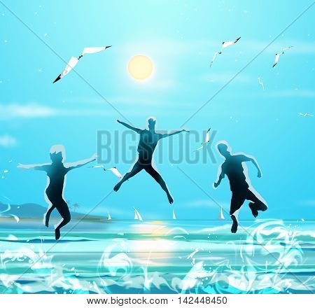 Kids running on the sea beach. Kids Holiday. Blue sea waves and gull flying in sky and sun. Sunny day sea landscape. Digital illustration, Hand Drawn.