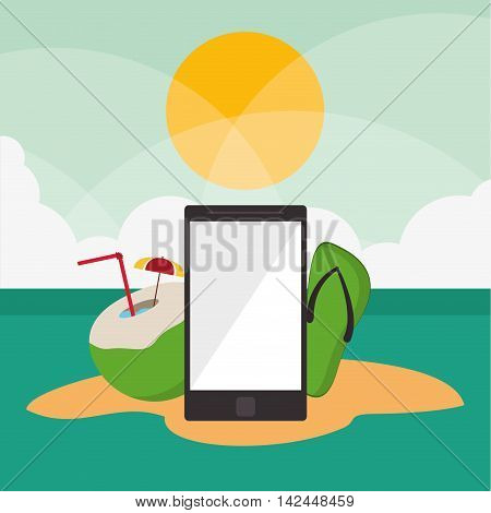 smartphone cocktail sandal vacation summer travel tourism icon, vector illustration