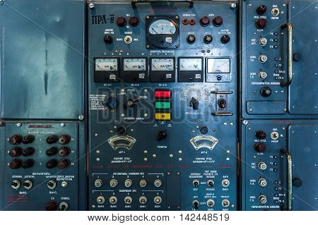 Control panel of a vintage research device. Means of lever are in Russian