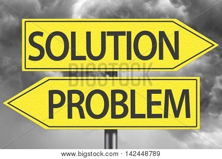 Solution x Problem yellow sign