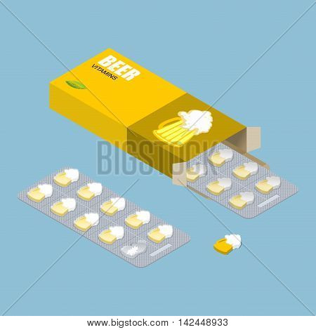 Beer Vitamins. Alcohol Tablets. Pills In Pack. Natural Preparations For Alcoholics In Form Of Beer M