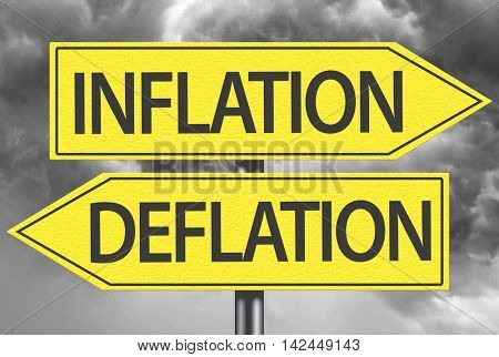 Inflation x Deflation yellow sign