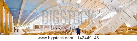 San Giovanni Rotondo Italy July 28 2016: The interior of the big moden church dedicated to Saint Padre Pio designed from the famous architect Renzo Piano