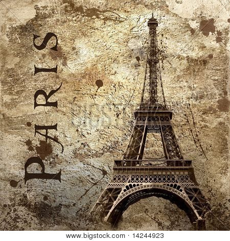 Vintage view of Paris on the grunge background