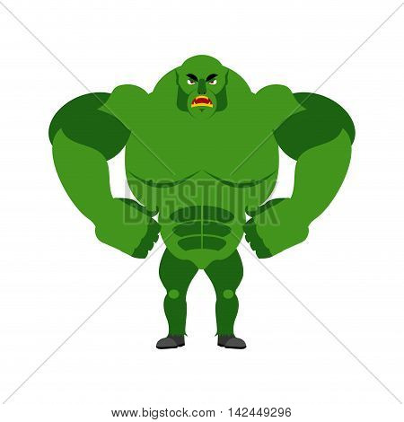 Angry Ogre. Aggressive Green Troll On White Background. Wild Evil Goblin. Large Ferocious Monster