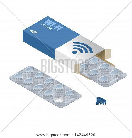 Wi-fi Pills In Pack. Tablets In Box. Natural Products For Wireless Transmission Of Internet. Wifi Pi
