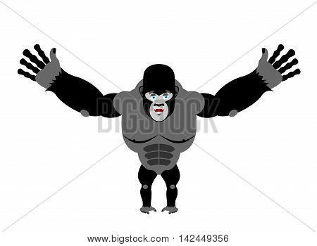 Cheerful Gorilla Spread His Arms In An Embrace. Good Big Monkey. Jungle Wild Animal