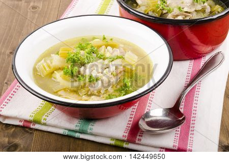 a leekie soup is a Scottish soup dish consisting of leeks and peppered chicken stock