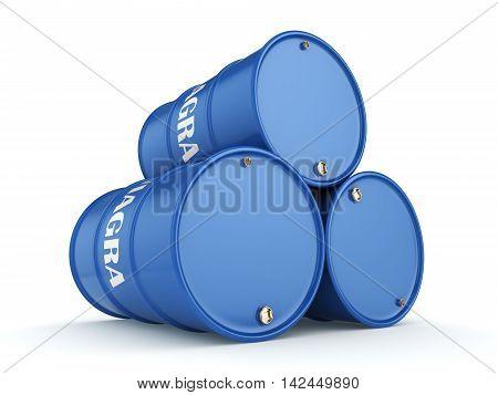 3D Rendering Blue Barrels Viagra