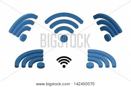 Wi Fi Sign Isometric. Logo For Wireless Network. Transmission Of Information From Distance. Wi-fi Sy