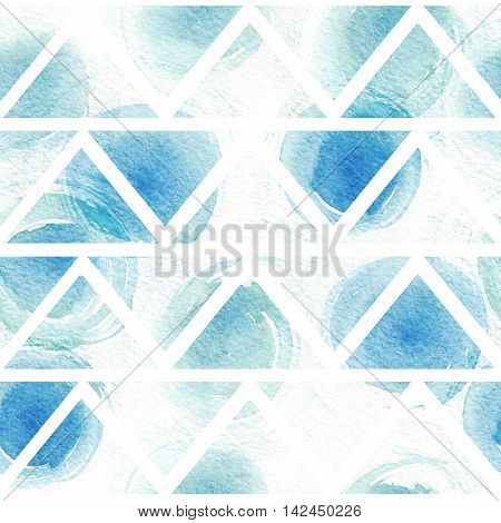 Seamless blue and aqua pattern based on white watercolor paper and hand drawn with brush and liquid ink circles in triangle texture. Geometric illustration